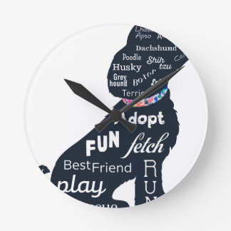 Blue Dog Round Clock