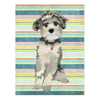 Blue Dog Stripes Postcard