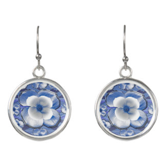 Blue Dogwood Flowers Earrings
