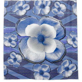 Blue Dogwood Flowers Shower Curtain
