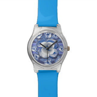 Blue Dogwood Flowers Wristwatch