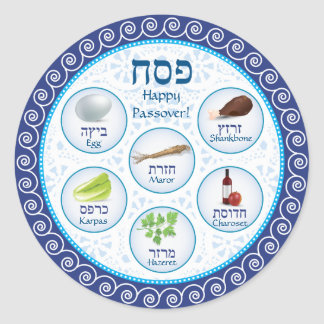 Blue Doily Passover Seder Plate Sticker