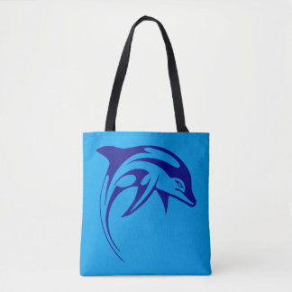 Blue dolphin jump tote bag