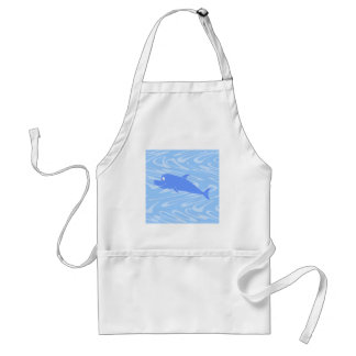Blue Dolphin on Wavy Pattern Aprons