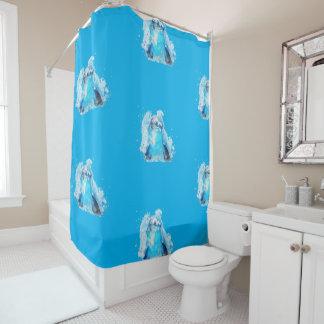 Blue dolphin shower curtain