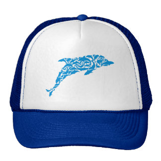 Blue dolphins forming a cute dolphin shape, cap
