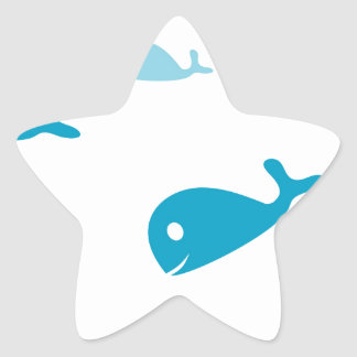 Blue dolphins on a white background star sticker
