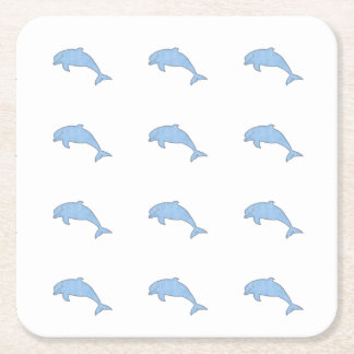 Blue Dolphins Party Supplies Square Paper Coaster