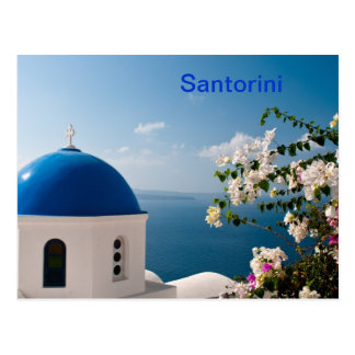 Blue dome in Santorini Postcard