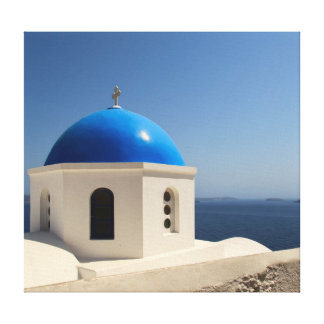 Blue dome on Santorini Canvas Print
