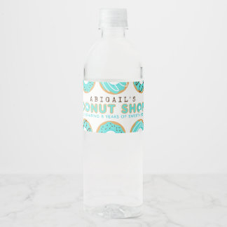 Blue Donut Shop Birthday Party Water Bottle Label