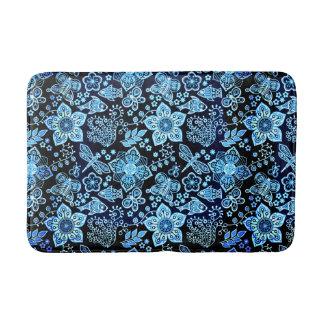 Blue Doodle Art Whimsical Nature Bath Mat
