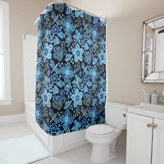 Blue Doodle Art Whimsical Nature Shower Curtain