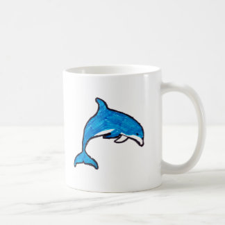 Blue Doodle Dolphin Coffee Mug