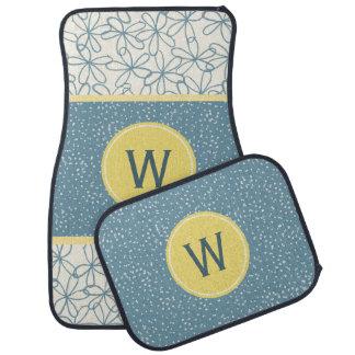 Blue Doodle Flowers Monogrammed Car Mats Floor Mat