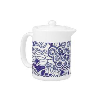Blue Doodle Teapot