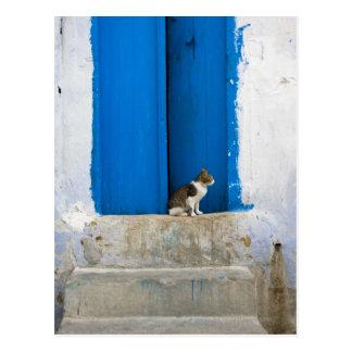 Blue door, Kairouan, Tunisia, Africa Postcard