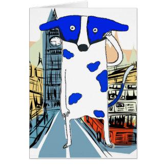 Blue Dot Dog Invades Earth Greeting Card