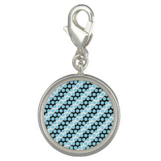 Blue Dot Stripe Round Charm