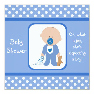 Blue Dots Caucasian Baby Shower Invitations