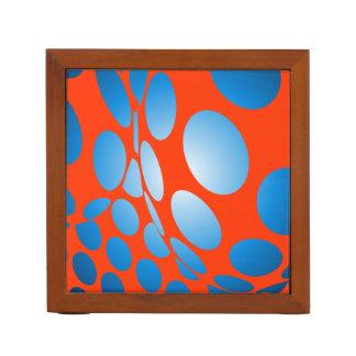 Blue Dots on Orange Desk Organiser