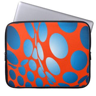 Blue Dots on Orange Laptop Sleeve
