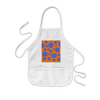 Blue dots orange base kids apron