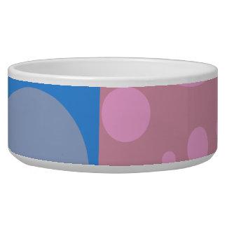 Blue Dots Pink Dot Art Large Pet Bowl
