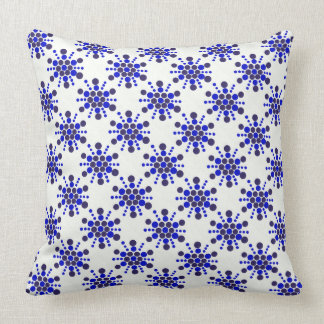 Blue dotted stamped star design cushion