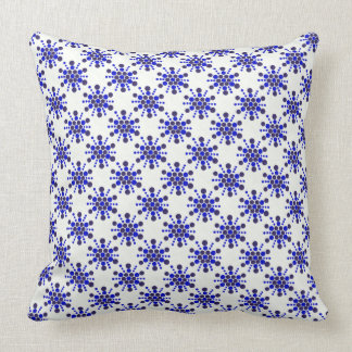 Blue dotted stamped star design throw pillow