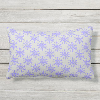 Blue dotted stars on pebble grey lumbar cushion