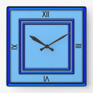 Blue Double Frame 4 Black Numerals Clocks