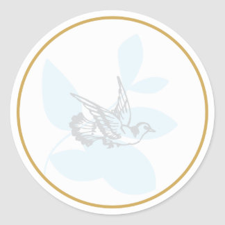Blue Dove and Branch Baptism Seal/Sticker Classic Round Sticker