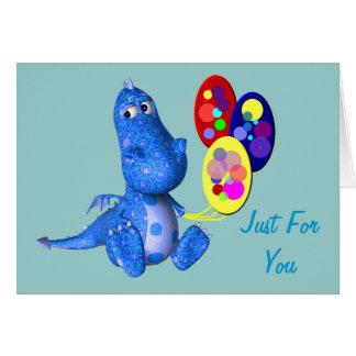 Blue Dragon And Balloons Birthday Card