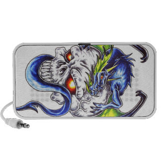 Blue dragon and skull tattoo theme doodle speaker