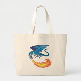 blue dragon breathing fire jumbo tote bag