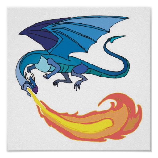 blue dragon breathing fire posters