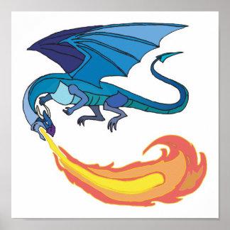 blue dragon breathing fire print