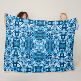 Blue Dragon Buddha Mandala Fleece Blanket