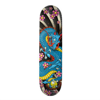 Blue Dragon Cherry Blossom Tattoo Skateboard