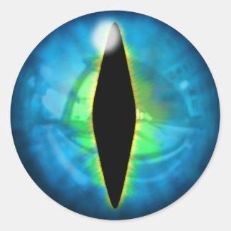 Blue Dragon Eye Round Sticker