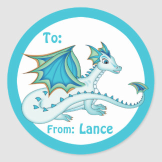 Blue Dragon Gift Label Round Sticker