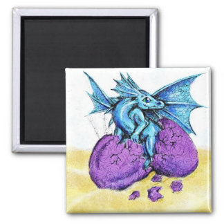 Blue Dragon Hatching Square Magnet