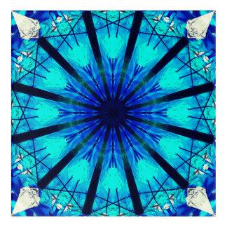 Blue Dragon Heads Mandala Acrylic Print
