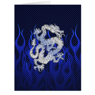 Blue Dragon in Chrome Carbon racing flames Big Greeting Card