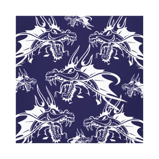 Blue Dragon Mythical Creature Fantasy Design Stretched Canvas Print