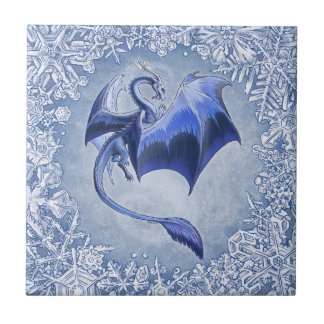 Blue Dragon of Winter Fantasy Nature Art Small Square Tile