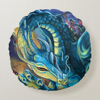 Blue Dragon Rider Round Cushion