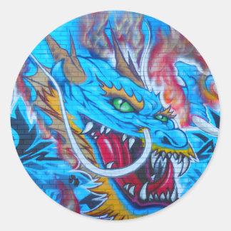 Blue Dragon Round Sticker