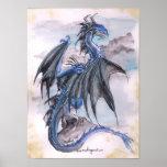 Blue Dragon - watercolours Poster